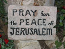 A stone with pray for the Peace of Jerusalem